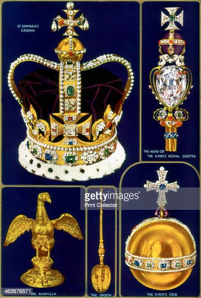 Crown Jewels of the United Kingdom 1937 Clockwise from top left the Crown of England used for thr act of coronation the King's Royal Sceptre the...