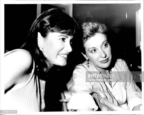 Crown Lager launch at Doyles at Watsons BayAlexandra Joel and GlenMarie Frost get some motherly advice from Alice Doyle March 19 1986