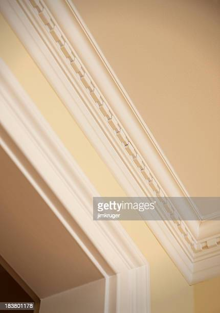 crown moulding detail - crown molding stock photos and pictures