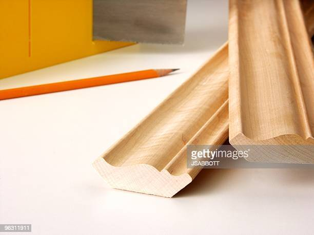 crown moulding - mitre stock photos and pictures