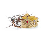 crown thorns gold crown white background