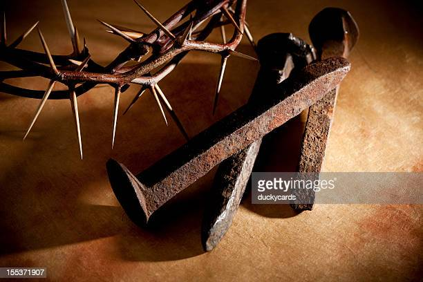 crown of thorns and nails on grunge - good friday stock pictures, royalty-free photos & images