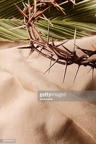 Corona di spine e Foglia di palma con spazio per il testo