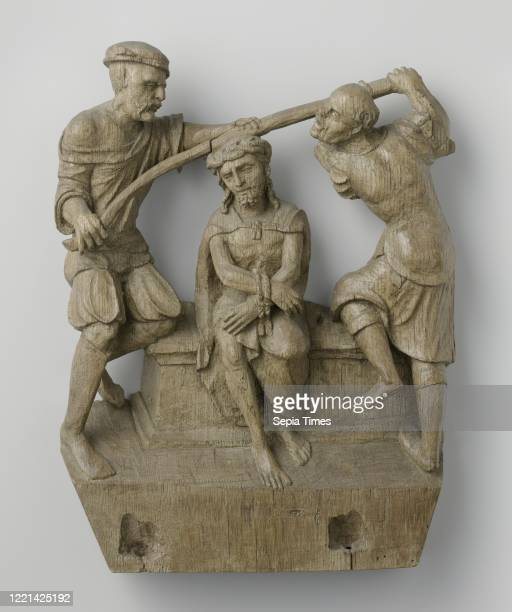 Crown of Thorns, Christ sits on a couch with bound wrists between two executioners, who press a long stick on Christ's head with both hands, each...
