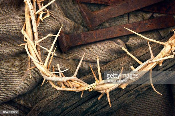 crown of thorns - resurrection religion stock photos and pictures