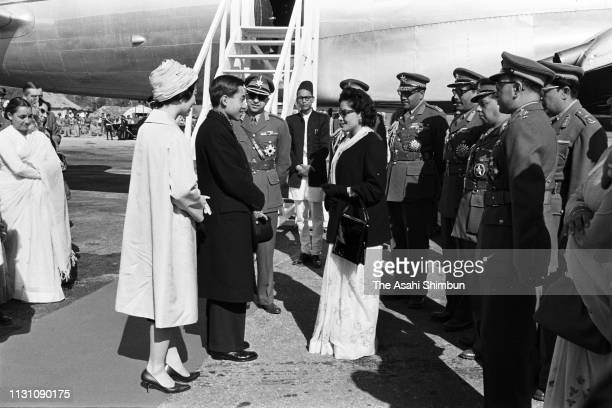 Crown Prince Akihito and Crown Princess Michiko are seen off by King Mahendra and Queen Ratna of Nepal on departure at Gauchaur Airport on December 8...