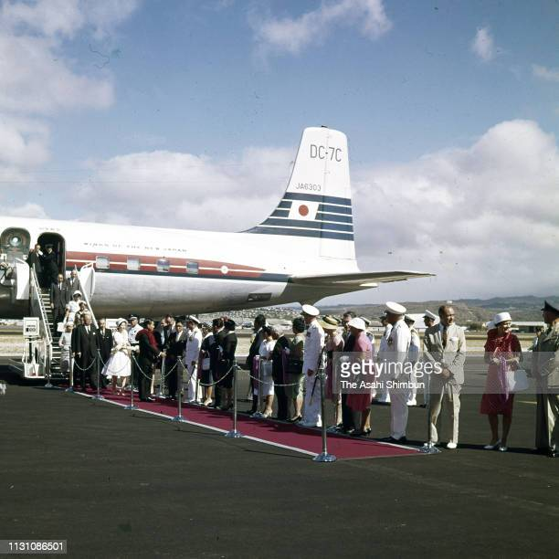 Crown Prince Akihito and Crown Princess Michiko are seen on arrival at Honolulu Airport on September 22 1960 in Honolulu Hawaii
