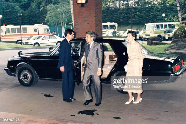 Crown Prince Akihito and Crown Princess Michiko are seen on arrival at their hotel on June 5 1987 in Nikko Tochigi Japan