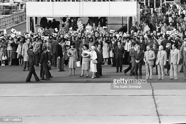 Crown Prince Akihito and Crown Princess Michiko are seen on departure at Varna Airport on October 12 1979 in Varna Bulgaria