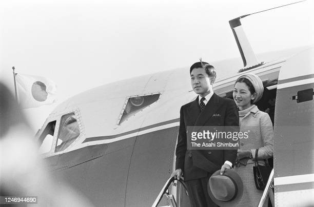 Crown Prince Akihito and Crown Princess Michiko are seen on departure for Tokyo at the Yonago Airport on October 10, 1967 in Yonago, Tottori, Japan.