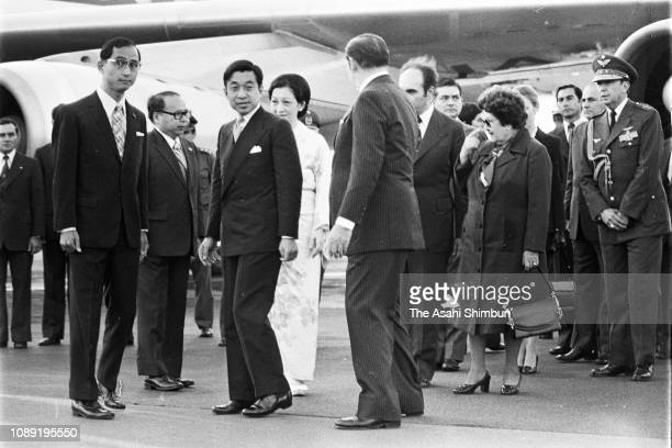 Crown Prince Akihito and Crown Princess Michiko are welcomed by Paraguayan President Alfredo Stroessner on arrival at Asuncion Airport on June 13...