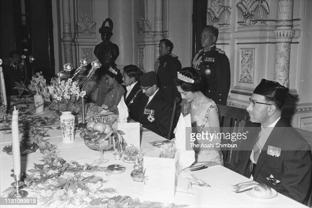 Crown Prince Akihito and Crown Princess Michiko attend the welcome dinner with King Mahendra Prince Himalaya and Queen Ratna of Nepal on December 6...