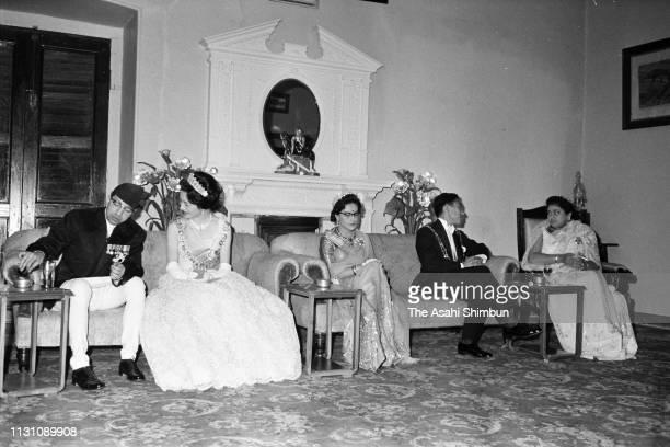 Crown Prince Akihito and Crown Princess Michiko talk with King Mahendra Queen Ratna and Princess Princep Rajya Lakshmi Devi during their meeting...