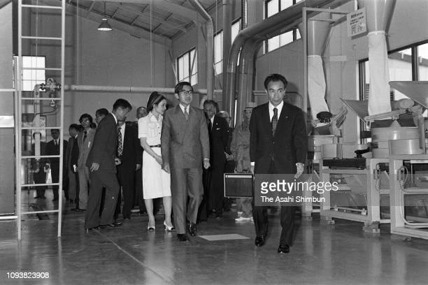 Crown Prince Akihito and Crown Princess Michiko visit the Saga Prefecture Agriculture Research Center on September 20, 1976 in Ureshino, Saga, Japan.