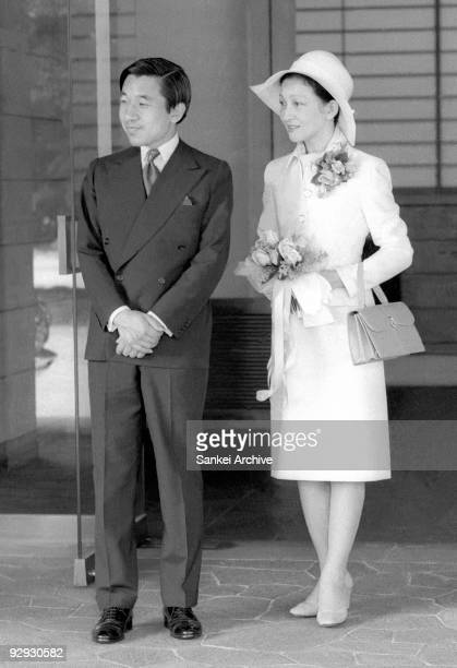 Crown Prince Akihito and Princess Michiko are seen on June 8 1976 in Japan