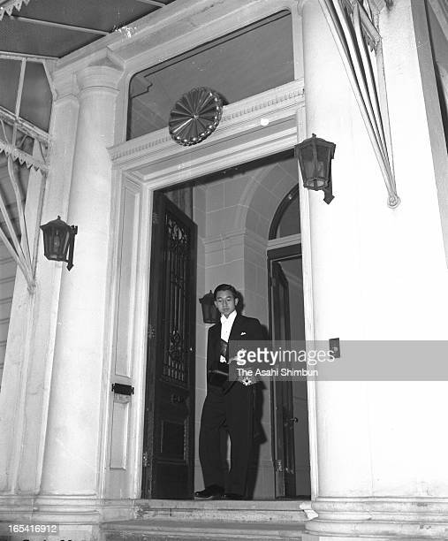 Crown Prince Akihito leaves Japanese Embassy to attend the Queen Elizabeth II Coronation Ceremony on June 2 1953 in London United Kingdom Crown...