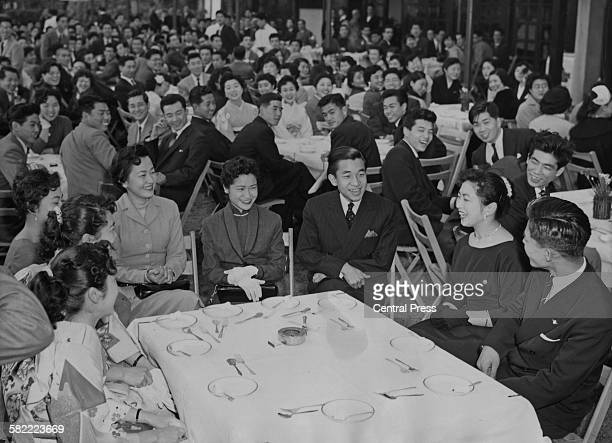 Crown Prince Akihito of Japan attends a farewell party held by the new graduates of Gakushuin University Tokyo Japan April 1956 The Crown Prince had...