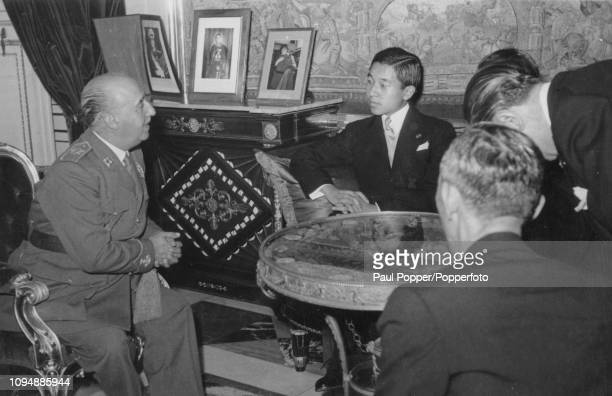 Crown Prince Akihito of Japan pictured on right meeting with General Francisco Franco , Prime Minister of Spain at the Palacio de El Pardo near...