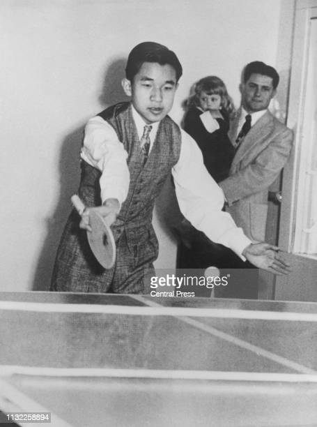 Crown Prince Akihito of Japan playing table tennis on board the cruise ship President Wilson between Hawaii and San Francisco April 1953 The Crown...