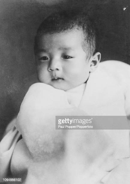 Crown Prince Akihito of Japan, who was born on 23rd December 1933, pictured as a baby in Tokyo, Japan in 1934.