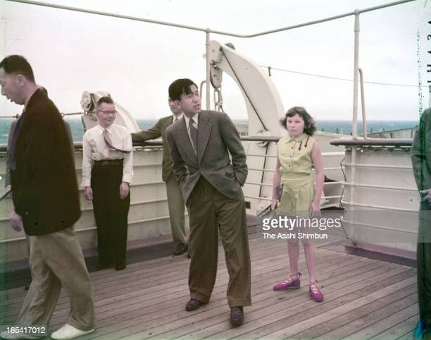 Crown Prince Akihito on the promenade deck of the cruise ship President Wilson on April 4 1953 on the way to Hawaii from Yokohama Crown Prince...