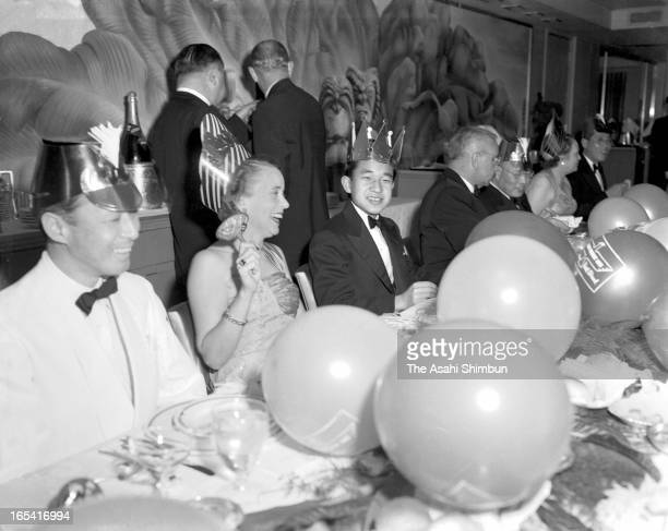 Crown Prince Akihito smiles during the farewell dinner on the cruise ship President Wilson on April 10 1953 on the way to San Francisco from Hawaii...