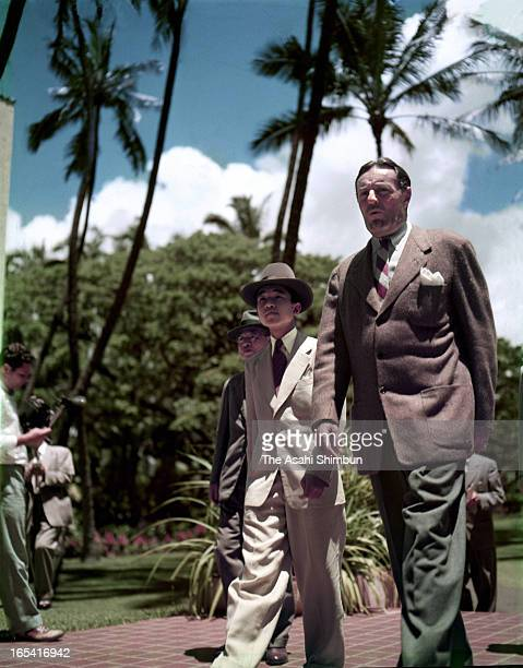 Crown Prince Akihito takes a walk around a hotel on April 6 1953 in Honolulu Hawaii Crown Prince Akihito makes a trip to Great Britain to attend the...