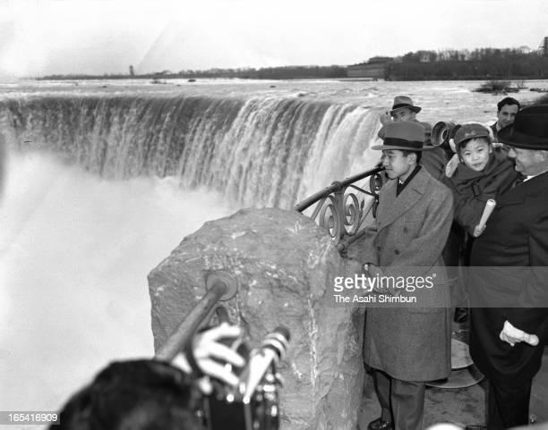 Crown Prince Akihito visits Horseshoe Falls of Niagara Falls on April 18, 1953 in Niagara Falls, Canada. Crown Prince Akihito makes a trip to Great...
