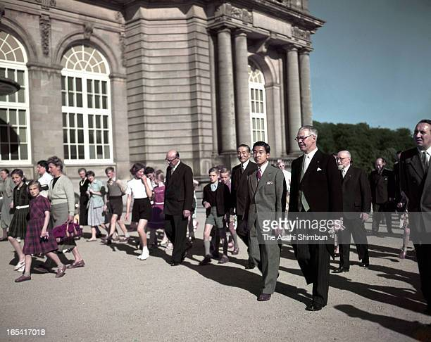 Crown Prince Akihito visits The Royal Museum of the Belgian Congo on July 24 1953 in Tervuren Belgium Crown Prince Akihito makes a trip to Great...