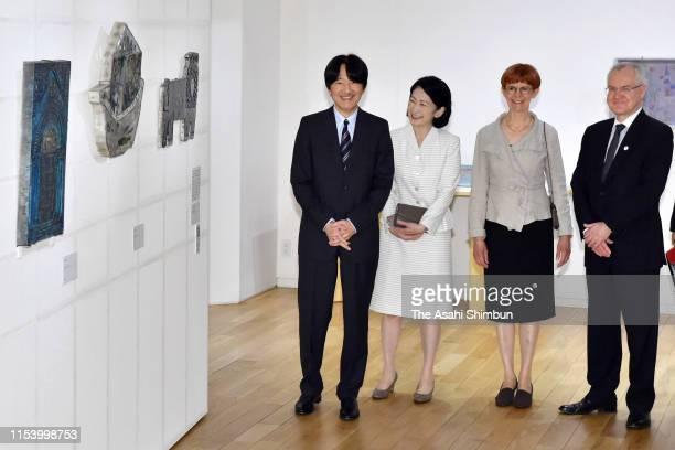 Crown Prince Akishino and Crown Princess Kiko of Akishino at a Rut Bryk exhibition on June 5, 2019 in Tokyo, Japan.