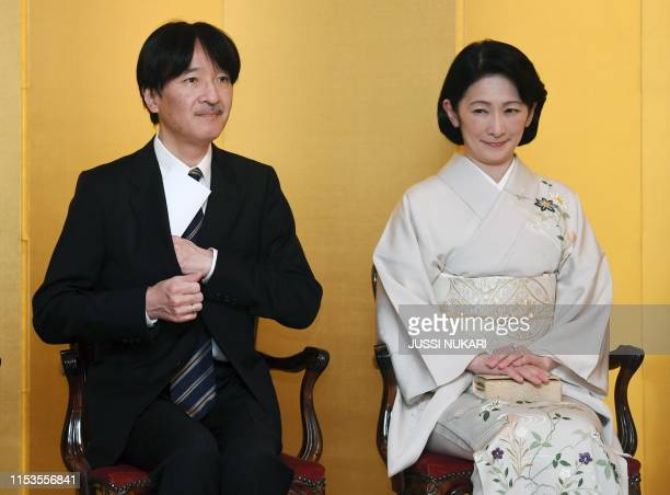 Crown Prince Akishino and Crown Princess Kiko of Japan attend FinnishJapanese diplomatic relations Centennial Anniversary Reception at the Embassy of...