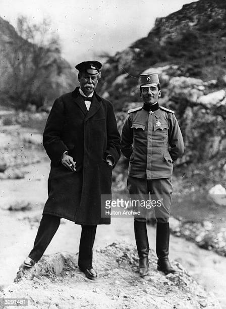 Crown Prince Alexander Karadjordjevic of Serbia CommanderinChief of the Serbian army in World War I in Belgrade with philanthropist and businessman...