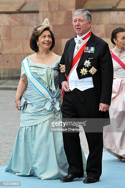 Crown Prince Alexander of Yugoslavia and Crown Princess Katherine of Yugoslavi attend the wedding of Crown Princess Victoria of Sweden and Daniel...