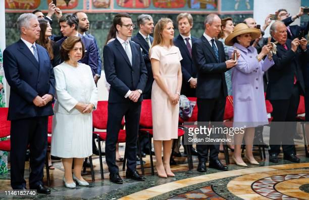 Crown Prince Alexander Princess Katharine Prince Philip Princess Danica Prince Michel Princess Barbara and Prince Eugen of Liechtenstein during the...