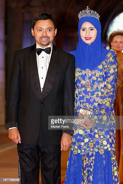 Crown Prince AlMuhtadee Billah and Princess Sarah of Brunei attend a dinner hosted by Queen Beatrix of The Netherlands ahead of her abdication in...
