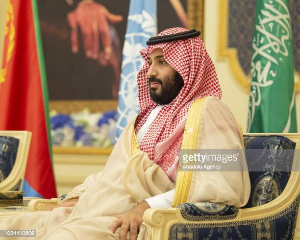 Crown Prince and Defense Minister of Saudi Arabia Mohammad bin Salman alSaud attends a signing ceremony hosted by Saudi Arabia's King for a peace...