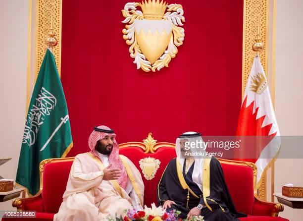 Crown Prince and Defense Minister of Saudi Arabia Mohammad bin Salman alSaud and King Hamad bin Isa bin Salman Al Khalifa of Bahrain are seen during...