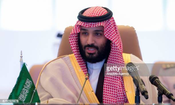 Crown Prince and Defense Minister of Saudi Arabia Mohammed bin Salman Al Saud speaks during Islamic Military Counter Terrorism Coalition Defense...
