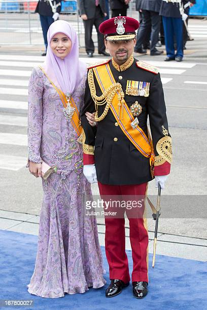 Crown Prince Billah and Princess Sarah of Brunei arrive at the Nieuwe Kerk in Amsterdam for the inauguration ceremony of King Willem Alexander of the...