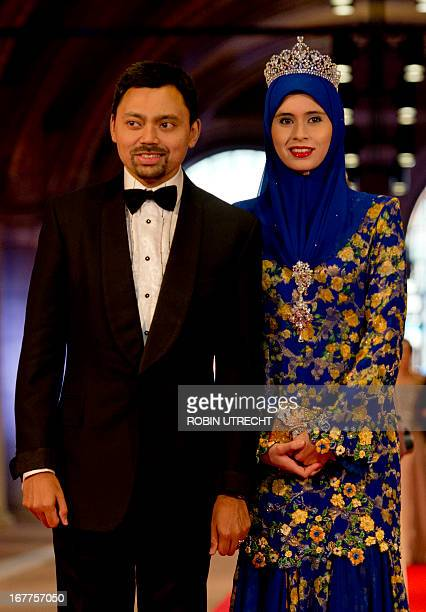 Crown prince Billah and Princess Sarah of Brunei arrive on April 29 2013 to attend a dinner at the National Museum in Amsterdam hosted by Queen...