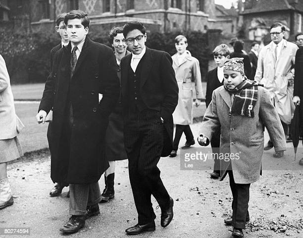 Crown Prince Birendra of Nepal is visited by his younger brother Prince Dhirendra during St Andrew's Day at Eton College 30th November 1960
