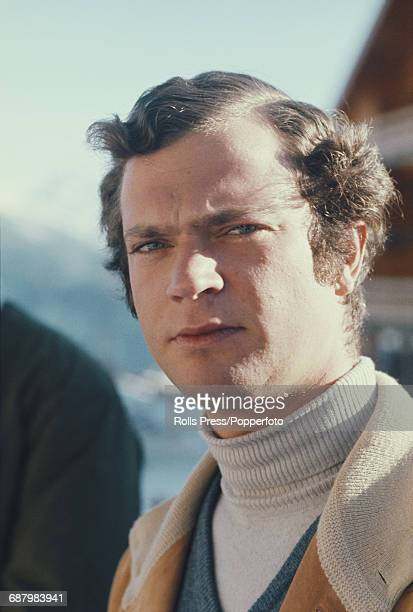 Crown Prince Carl Gustaf of Sweden pictured during a winter vacation in Switzerland in January 1971