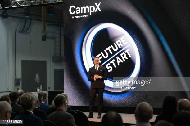 """Crown Prince Daniel addresses the audience as he attends the inauguration of the """"CampX by Volvo Group"""" Innovation Arena on March 28, 2019 in..."""