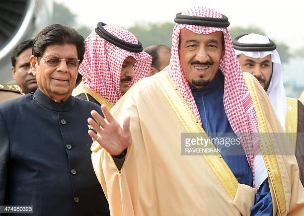 Crown Prince Deputy Prime Minister and Minister of Defence Salman bin Abdulaziz Al Saud of the Kingdom of Saudi Arabia gestures as he arrives at the...