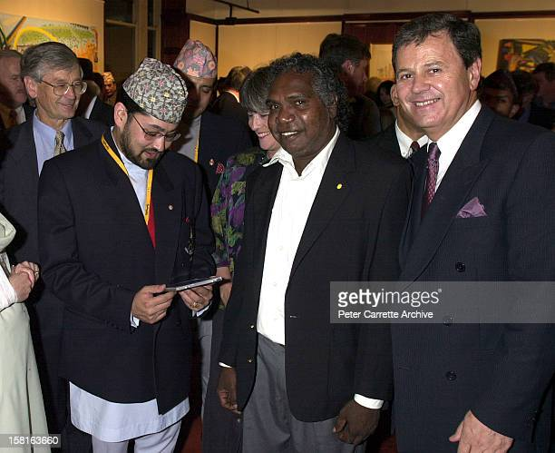 Crown Prince Dipendra of Nepal Mandawuy Yunupingu and Ray Martin attend a Fred Hollows Foundation function on September 29 2000 in Sydney Australia