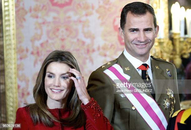 Crown Prince Felipe and Crown Princess Letizia attend the annual 'Pascua Militar' day at the Palacio Real on January 6, 2009 in Madrid, Spain. The...