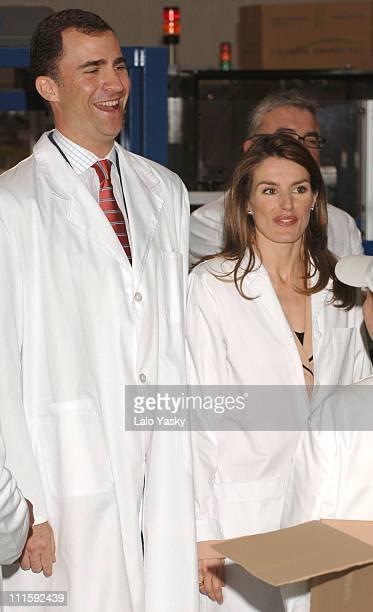 Crown Prince Felipe and Crown Princess Letizia during Crown Prince Felipe and Crown Princess Letizia Visit a Spanish Chocolate Factory, a Shoe...