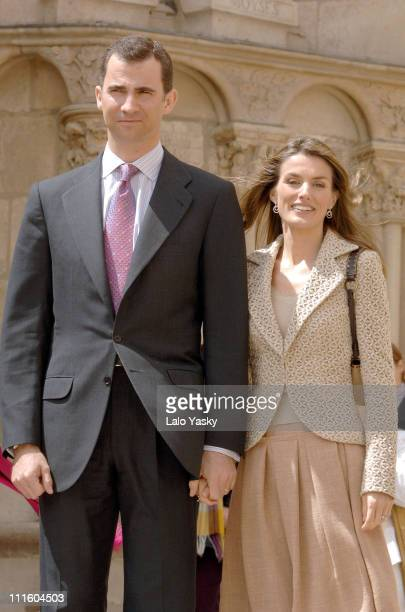 Crown Prince Felipe and Crown Princess Letizia during Prince Felipe and Princess Letizia Visit Burgos Cathedral April 27 2006 at Burgos Cathedral in...