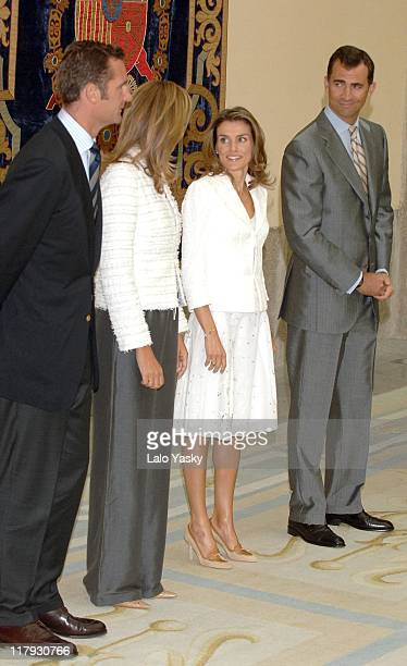 Crown Prince Felipe and Crown Princess Letizia during Spanish National Sports Awards Ceremony 2006 at El Pardo Palace in Madrid Spain