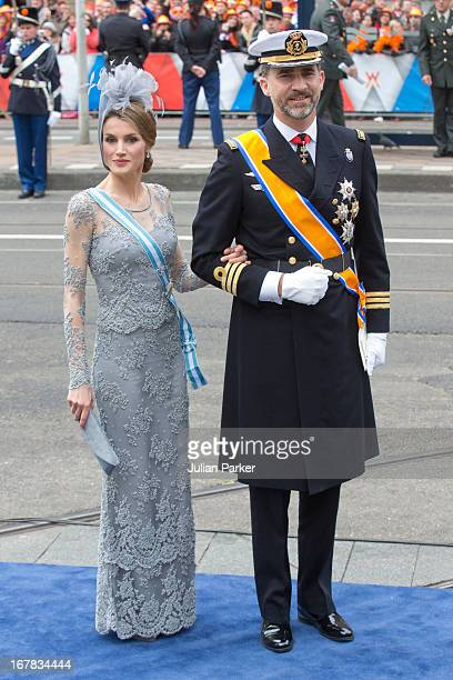 Crown Prince Felipe and Crown Princess Letizia of Spain arrive at the Nieuwe Kerk in Amsterdam for the inauguration ceremony of King Willem Alexander...